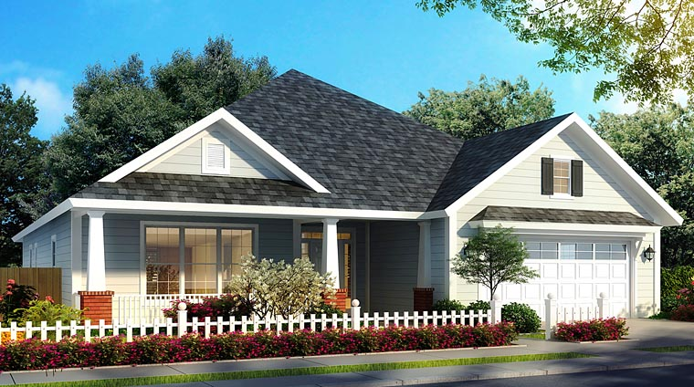 Bungalow, Country, Traditional House Plan 61472 with 4 Beds, 4 Baths, 2 Car Garage Front Elevation
