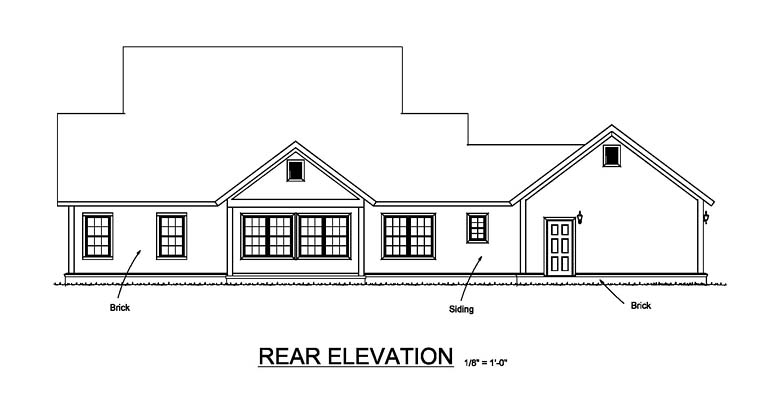 Country, Farmhouse, Southern, Traditional House Plan 61480 with 4 Beds, 3 Baths, 2 Car Garage Rear Elevation