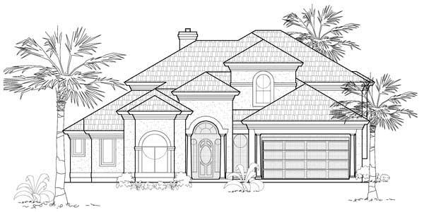 Mediterranean House Plan 61678 with 4 Beds, 4 Baths, 3 Car Garage Elevation