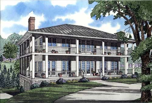 Colonial, Southern House Plan 62012 with 3 Beds, 5 Baths, 2 Car Garage Elevation