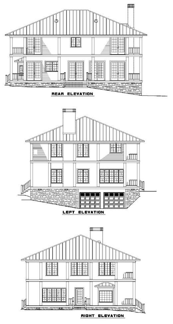 Colonial, Southern House Plan 62012 with 3 Beds, 5 Baths, 2 Car Garage Rear Elevation