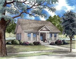 Bungalow, Colonial, Country, Ranch, Southern House Plan 62021 with 3 Beds, 2 Baths, 2 Car Garage Elevation