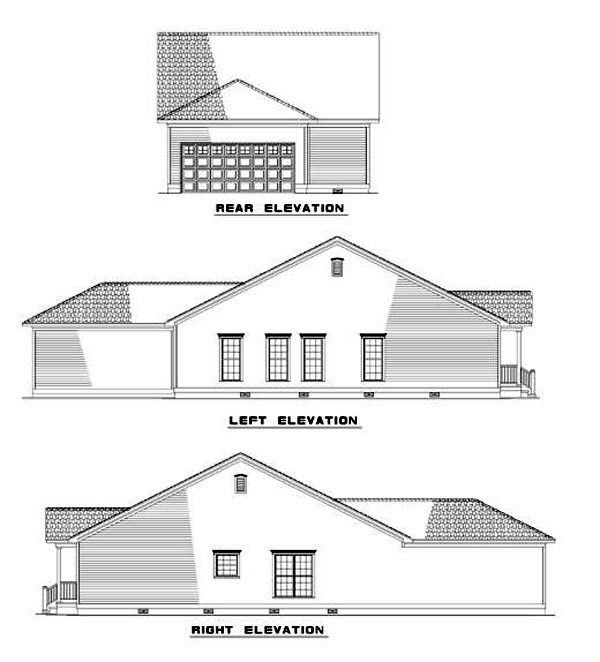 Bungalow, Colonial, Country, Ranch, Southern House Plan 62021 with 3 Beds, 2 Baths, 2 Car Garage Rear Elevation