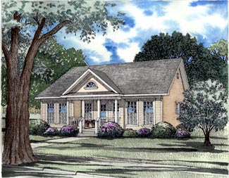 Country, One-Story, Ranch, Southern House Plan 62025 with 3 Beds, 2 Baths Elevation