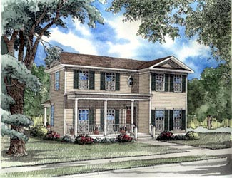 Colonial, Southern House Plan 62026 with 3 Beds, 2 Baths, 2 Car Garage Front Elevation