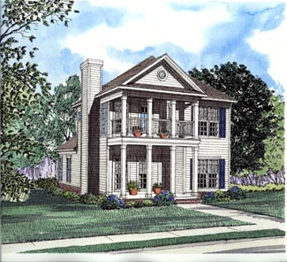 Colonial, Narrow Lot, Southern House Plan 62028 with 3 Beds, 3 Baths, 2 Car Garage Elevation