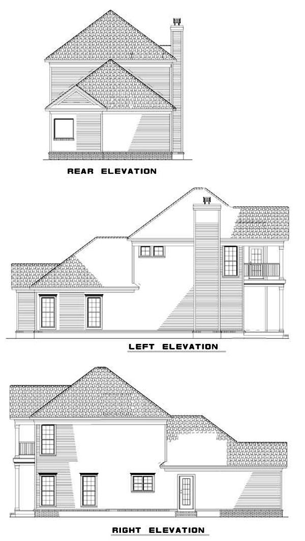 Colonial, Narrow Lot, Southern House Plan 62028 with 3 Beds, 3 Baths, 2 Car Garage Rear Elevation