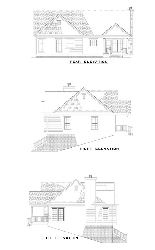 House Plan 62038 with 3 Beds, 3 Baths Rear Elevation