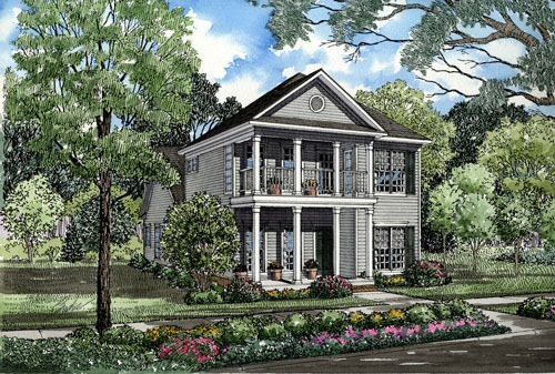 Colonial, Southern House Plan 62054 with 3 Beds, 3 Baths Front Elevation