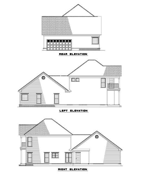 Colonial, Southern House Plan 62054 with 3 Beds, 3 Baths Rear Elevation