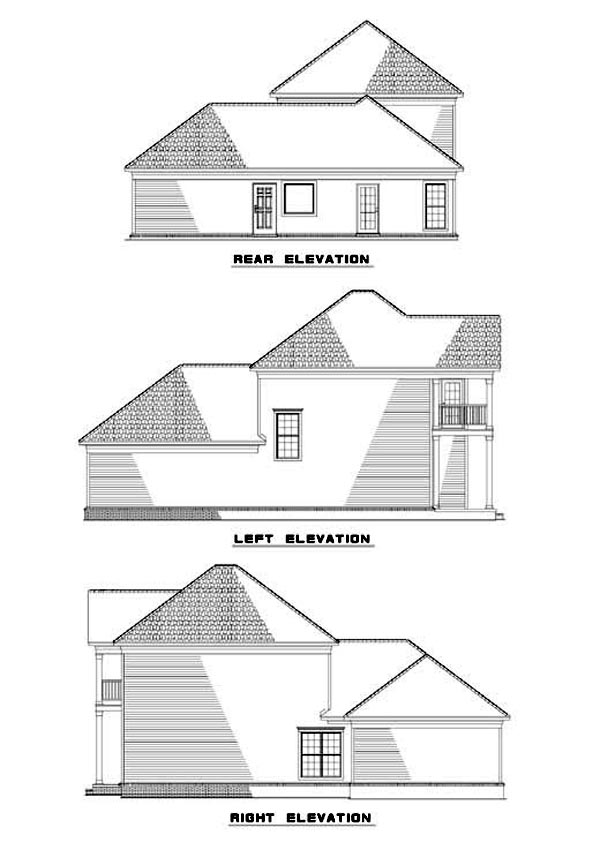 Colonial House Plan 62057 with 3 Beds, 3 Baths, 2 Car Garage Rear Elevation