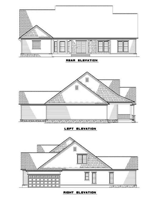 Country House Plan 62065 with 4 Beds, 4 Baths, 2 Car Garage Rear Elevation