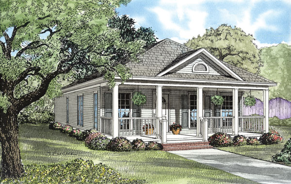 Country, Southern House Plan 62096 with 2 Beds, 2 Baths, 2 Car Garage Elevation