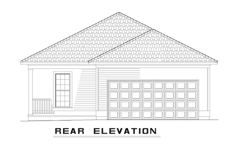 Country, Southern House Plan 62096 with 2 Beds, 2 Baths, 2 Car Garage Rear Elevation