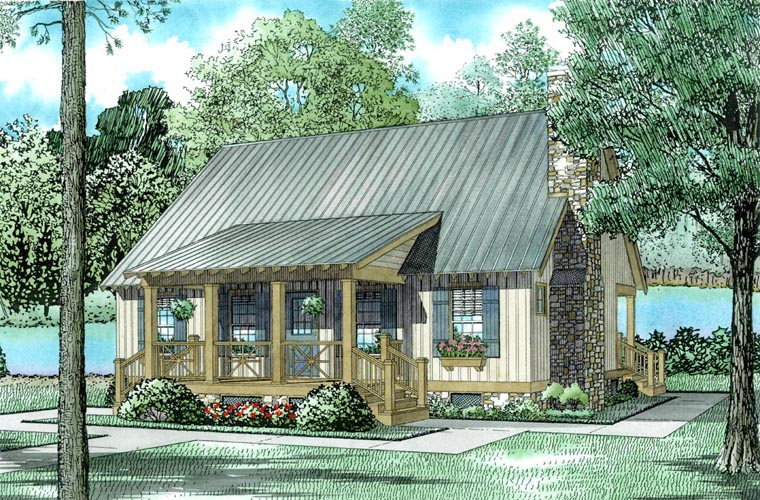 Cabin, Cottage, Country, Southern House Plan 62115 with 3 Beds, 2 Baths Elevation