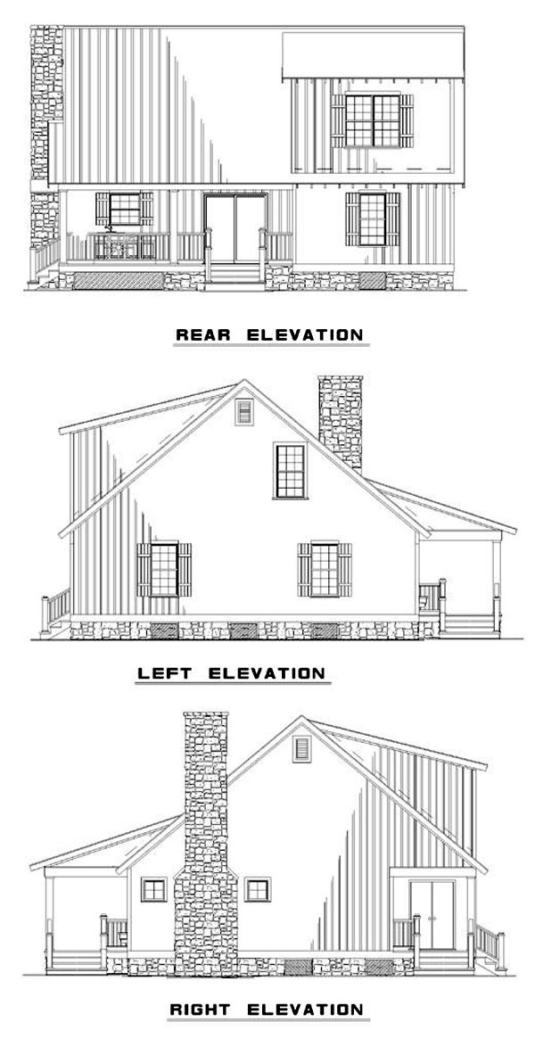 Cabin, Cottage, Country, Southern House Plan 62115 with 3 Beds, 2 Baths Rear Elevation