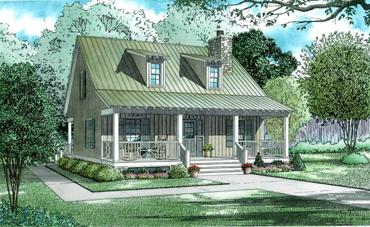 Cabin, Country, Southern House Plan 62118 with 2 Beds, 2 Baths Front Elevation