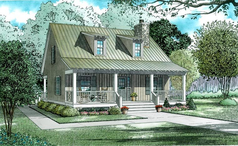 Cabin, Country, Southern House Plan 62118 with 2 Beds, 2 Baths Elevation