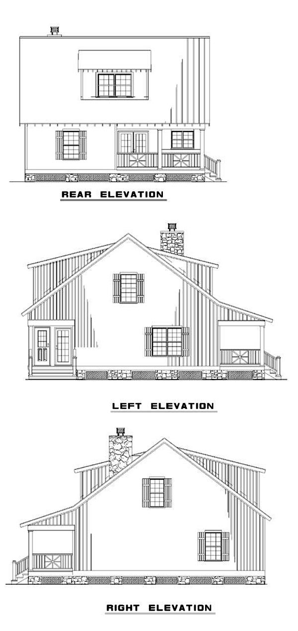 Cabin, Country, Southern House Plan 62118 with 2 Beds, 2 Baths Rear Elevation