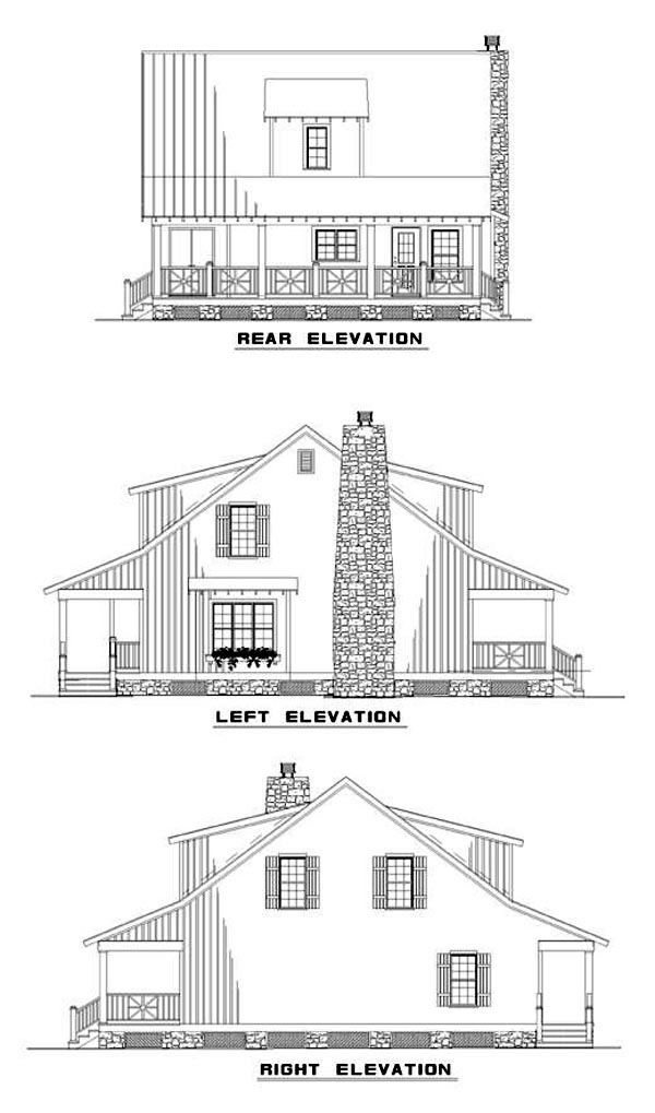 Cottage, Country, Southern House Plan 62122 with 3 Beds, 2 Baths Rear Elevation