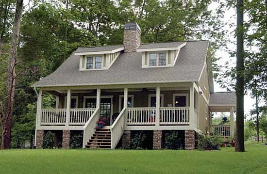 Bungalow, Cabin, Country, Southern House Plan 62131 with 3 Beds, 2 Baths Elevation