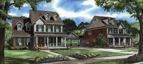 Colonial, Southern Multi-Family Plan 62140 with 4 Beds, 3 Baths, 2 Car Garage Front Elevation