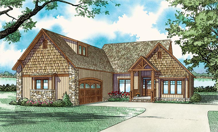 Bungalow, Country, Craftsman, One-Story House Plan 62145 with 3 Beds, 2 Baths, 2 Car Garage Elevation