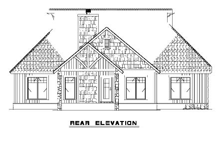 Bungalow, Country, Craftsman, One-Story House Plan 62145 with 3 Beds, 2 Baths, 2 Car Garage Rear Elevation
