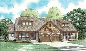 Bungalow, Country Multi-Family Plan 62146 with 3 Beds, 4 Baths, 2 Car Garage Elevation
