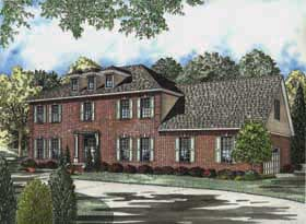 Colonial, Southern House Plan 62151 with 4 Beds, 4 Baths, 2 Car Garage Elevation