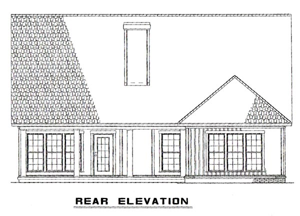 Bungalow, Traditional House Plan 62190 with 4 Beds, 3 Baths, 2 Car Garage Rear Elevation