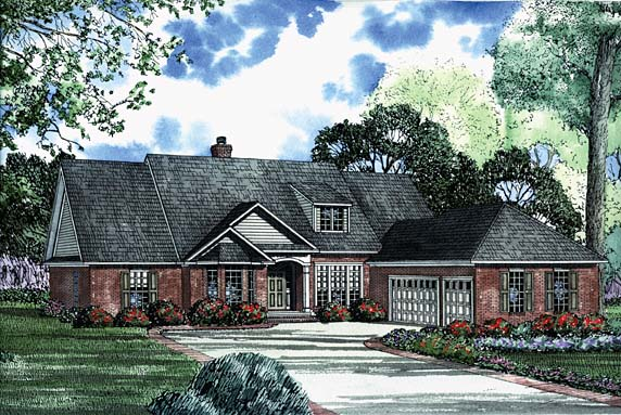 House Plan 62217 with 5 Beds, 4 Baths, 3 Car Garage Elevation