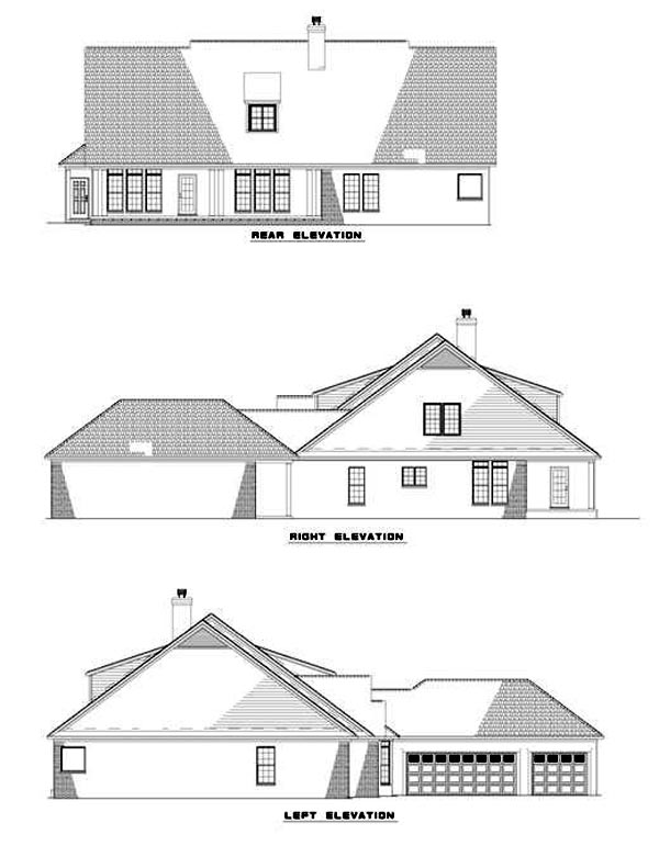 House Plan 62217 with 5 Beds, 4 Baths, 3 Car Garage Rear Elevation