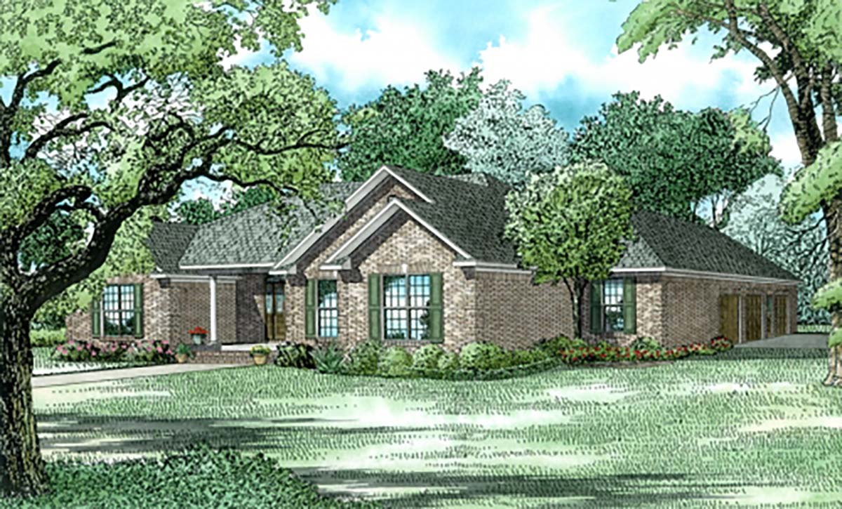 Traditional House Plan 62233 with 3 Beds, 3 Baths, 3 Car Garage Elevation