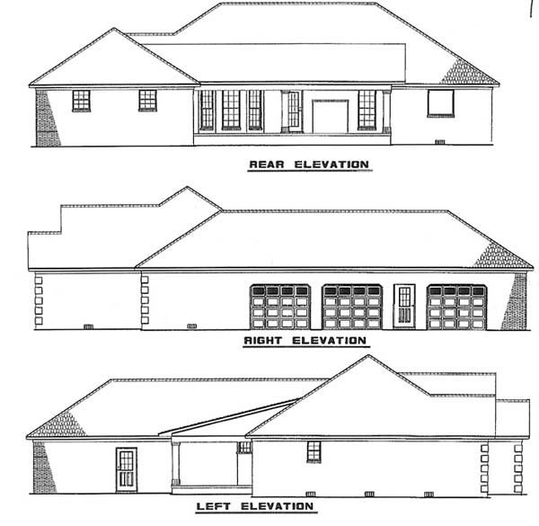 Traditional House Plan 62233 with 3 Beds, 3 Baths, 3 Car Garage Rear Elevation