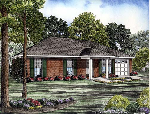One-Story House Plan 62242 with 3 Beds, 2 Baths, 1 Car Garage Front Elevation