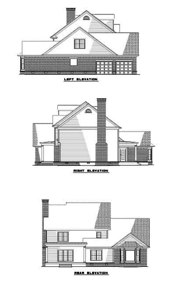 House Plan 62258 with 4 Beds, 4 Baths, 2 Car Garage Rear Elevation