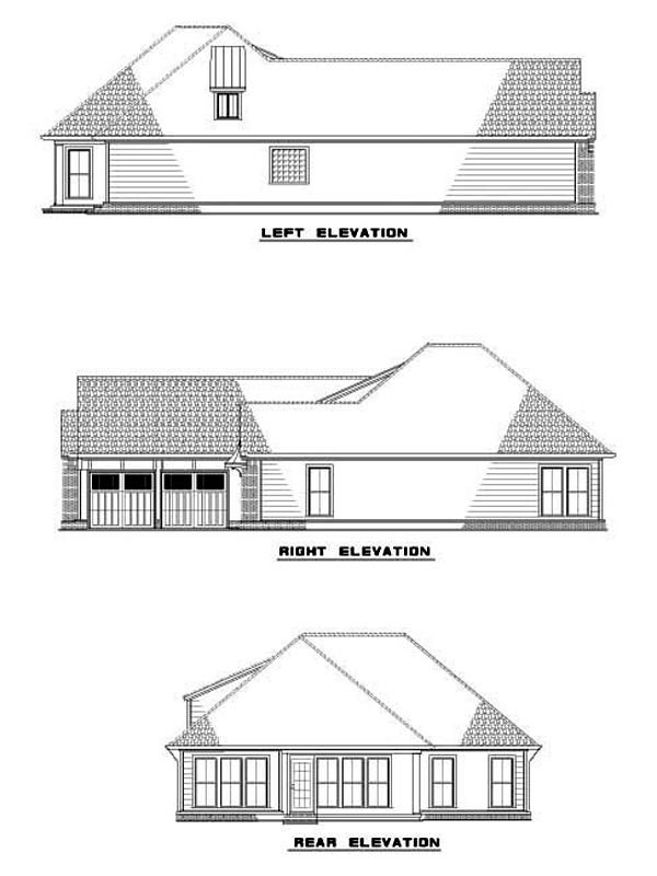 House Plan 62267 with 2 Beds, 2 Baths, 2 Car Garage Rear Elevation