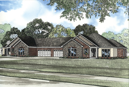 One-Story House Plan 62307 with 6 Beds, 4 Baths, 2 Car Garage Elevation