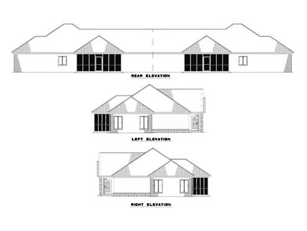 One-Story House Plan 62307 with 6 Beds, 4 Baths, 2 Car Garage Rear Elevation