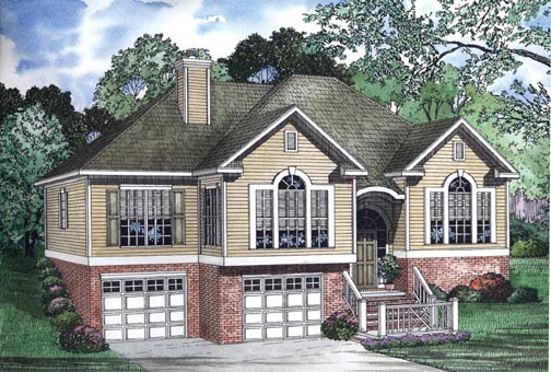 One-Story House Plan 62342 with 3 Beds, 2 Baths, 2 Car Garage Elevation