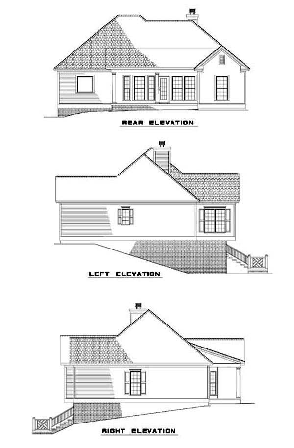 One-Story House Plan 62342 with 3 Beds, 2 Baths, 2 Car Garage Rear Elevation