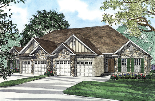 Multi-Family Plan 62349 with 6 Beds, 4 Baths, 4 Car Garage Elevation