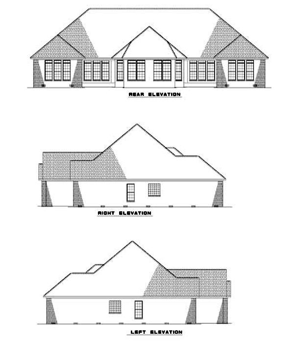 Multi-Family Plan 62349 with 6 Beds, 4 Baths, 4 Car Garage Rear Elevation