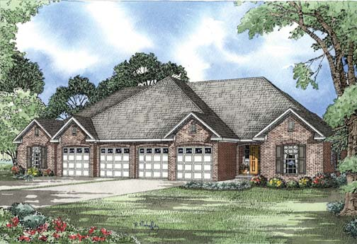 One-Story Multi-Family Plan 62353 with 6 Beds, 4 Baths, 4 Car Garage Elevation