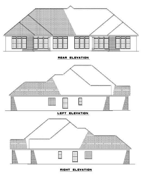 One-Story Multi-Family Plan 62353 with 6 Beds, 4 Baths, 4 Car Garage Rear Elevation