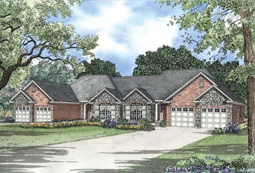 One-Story Multi-Family Plan 62354 with 4 Beds, 4 Baths, 4 Car Garage Elevation