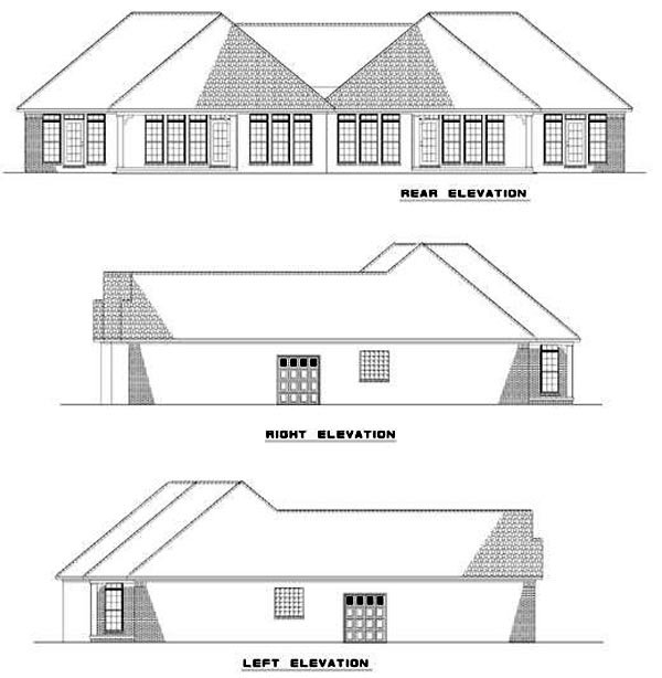 One-Story Multi-Family Plan 62354 with 4 Beds, 4 Baths, 4 Car Garage Rear Elevation