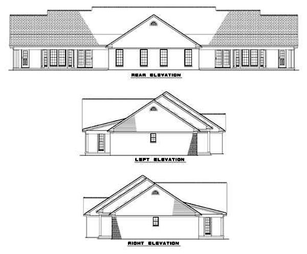One-Story, Ranch Multi-Family Plan 62376 with 6 Beds, 4 Baths, 4 Car Garage Rear Elevation