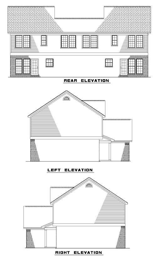 Traditional Multi-Family Plan 62377 with 6 Beds, 6 Baths, 2 Car Garage Rear Elevation